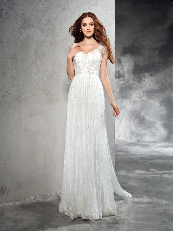 Court Train A-Line/Princess Straps Sleeveless Lace Wedding Dresses
