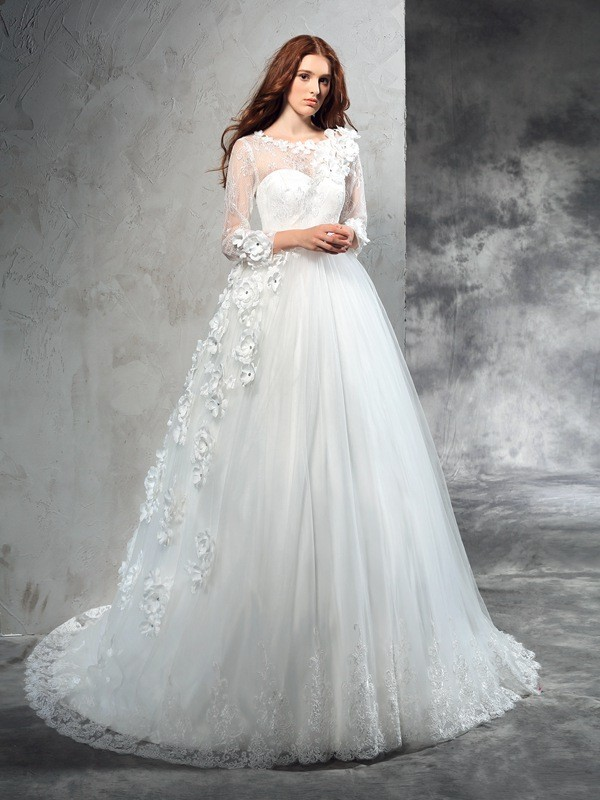 Court Train Ball Gown Sheer Neck Long Sleeves Hand-Made Flower Net Wedding Dresses