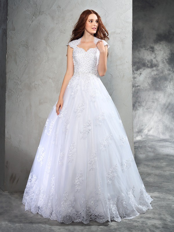 Court Train Ball Gown Sweetheart Sleeveless Lace Organza Wedding Dresses