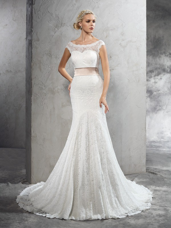 Court Train Sheath/Column Sheer Neck Sleeveless Sash/Ribbon/Belt Lace Wedding Dresses