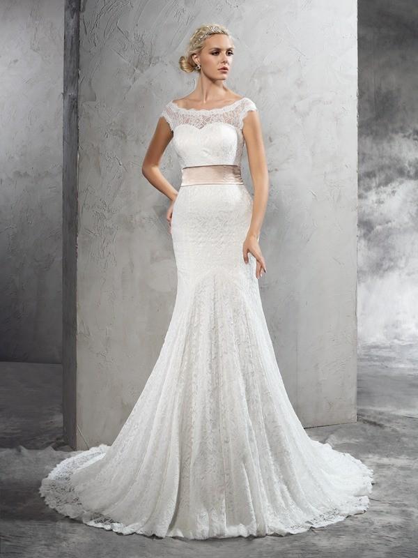 Court Train Sheath/Column Sheer Neck Sleeveless Sash/Ribbon/Belt Lace Wedding Dresses