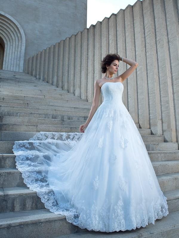 Chapel Train Ball Gown Spaghetti Straps Sleeveless Applique Satin Wedding Dresses