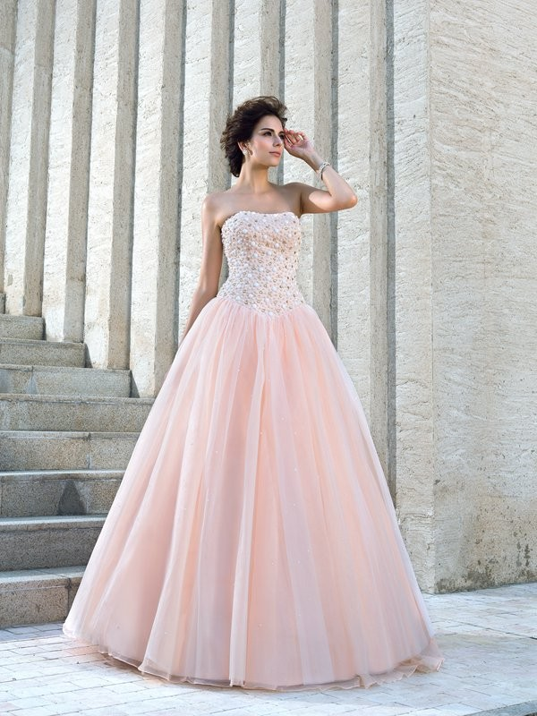 Floor-Length Ball Gown Strapless Sleeveless Beading Satin Wedding Dresses