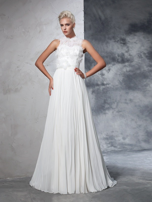 Court Train A-Line/Princess High Neck Sleeveless Pleats Chiffon Wedding Dresses