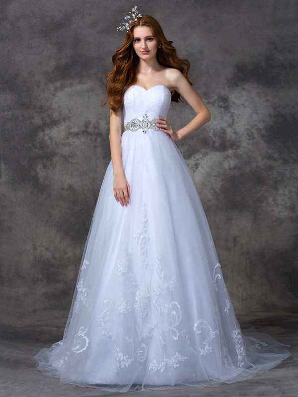 Sweep/Brush Train A-Line/Princess Sweetheart Sleeveless Beading Satin Wedding Dresses