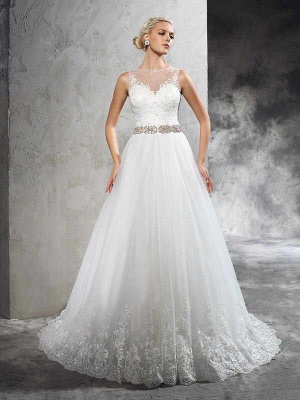 Court Train A-Line/Princess Sheer Neck Sleeveless Beading Net Wedding Dresses