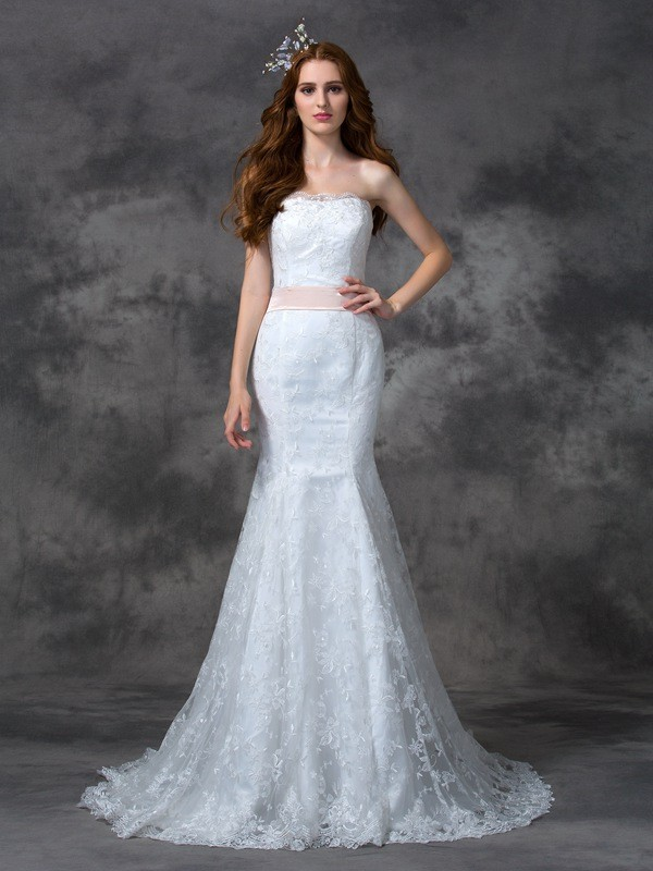 Court Train Trumpet/Mermaid Strapless Sleeveless Sash/Ribbon/Belt Lace Wedding Dresses