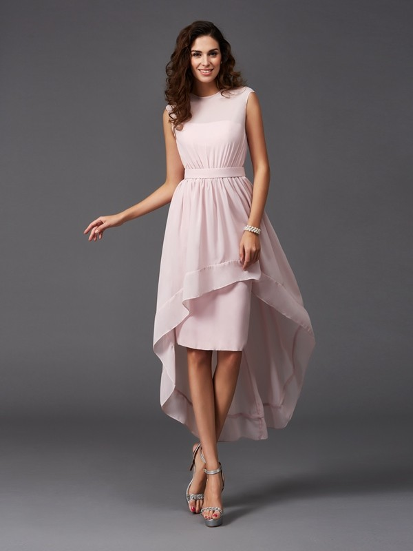 Asymmetrical A-Line/Princess Scoop Sleeveless Sash/Ribbon/Belt Chiffon Bridesmaid Dresses