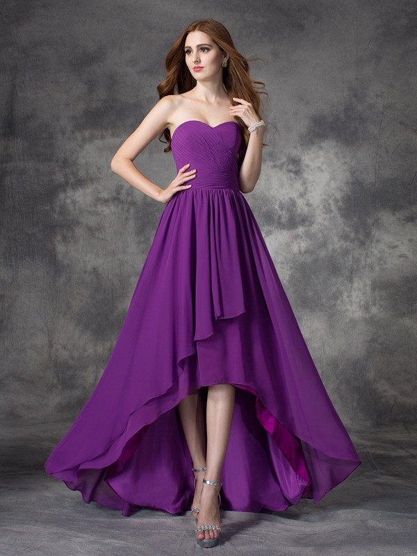 Asymmetrical A-Line/Princess Sweetheart Sleeveless Ruffles Chiffon Bridesmaid Dresses