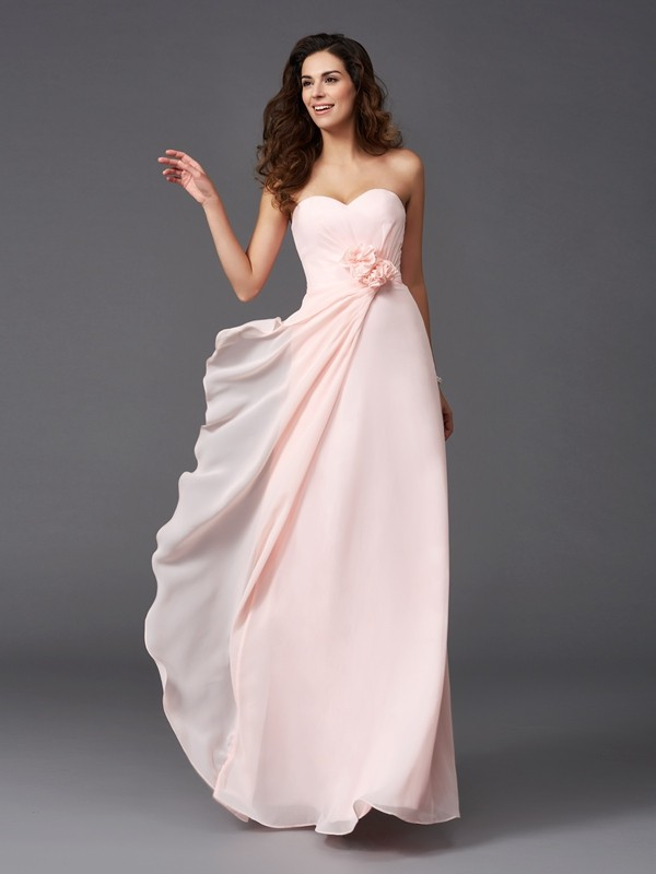 Floor-Length A-Line/Princess Sweetheart Sleeveless Hand-Made Flower Chiffon Bridesmaid Dresses