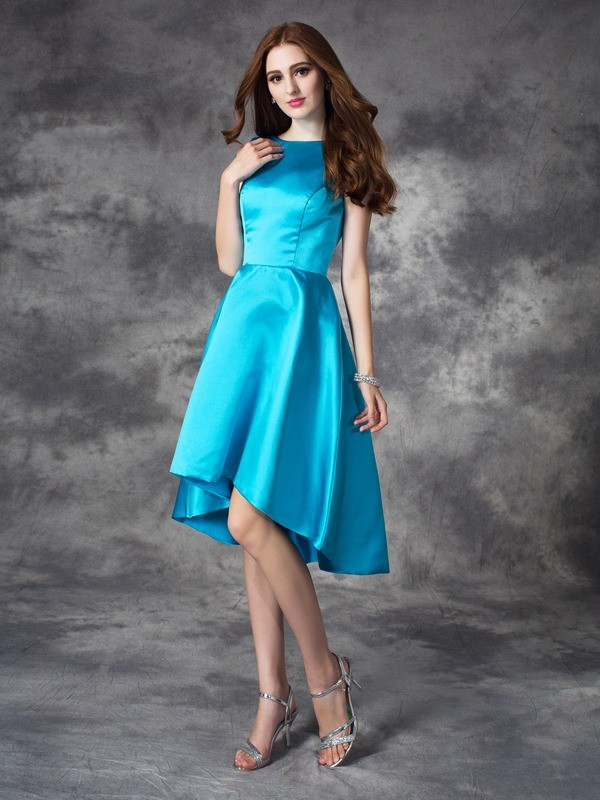 Asymmetrical A-Line/Princess Bateau Sleeveless Ruffles Satin Bridesmaid Dresses