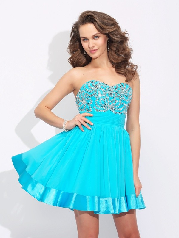 Short/Mini A-Line/Princess Sweetheart Sleeveless Ruffles Chiffon Dresses
