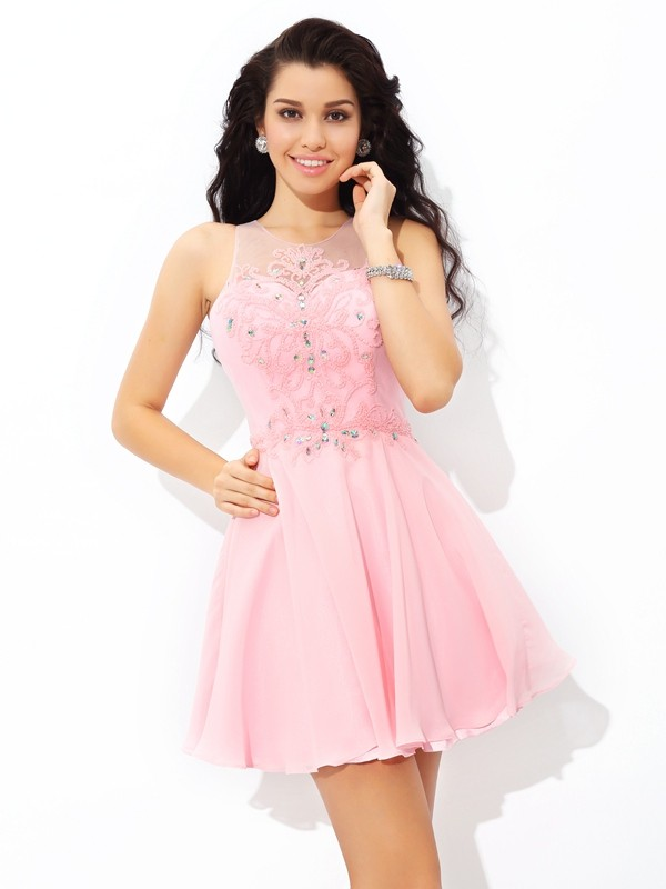 02be418ace Short Mini A-Line Princess Sheer Neck Sleeveless Applique Chiffon Dresses