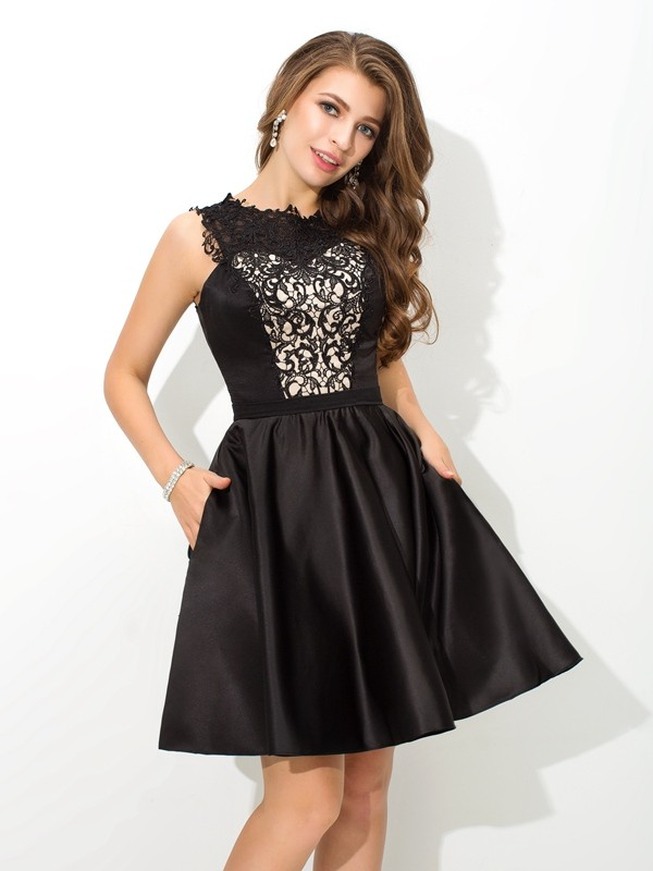 Short/Mini A-Line/Princess Scoop Sleeveless Lace Satin Dresses