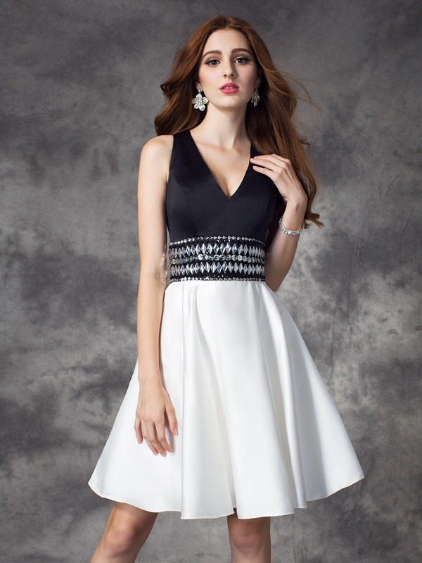 Short/Mini A-Line/Princess V-neck Sleeveless Rhinestone Satin Dresses