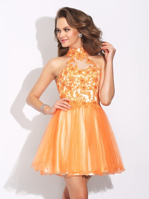 Short/Mini A-Line/Princess High Neck Sleeveless Ruffles Net Dresses