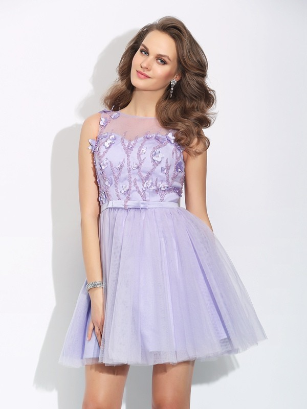 Short/Mini A-Line/Princess Bateau Sleeveless Applique Satin Dresses