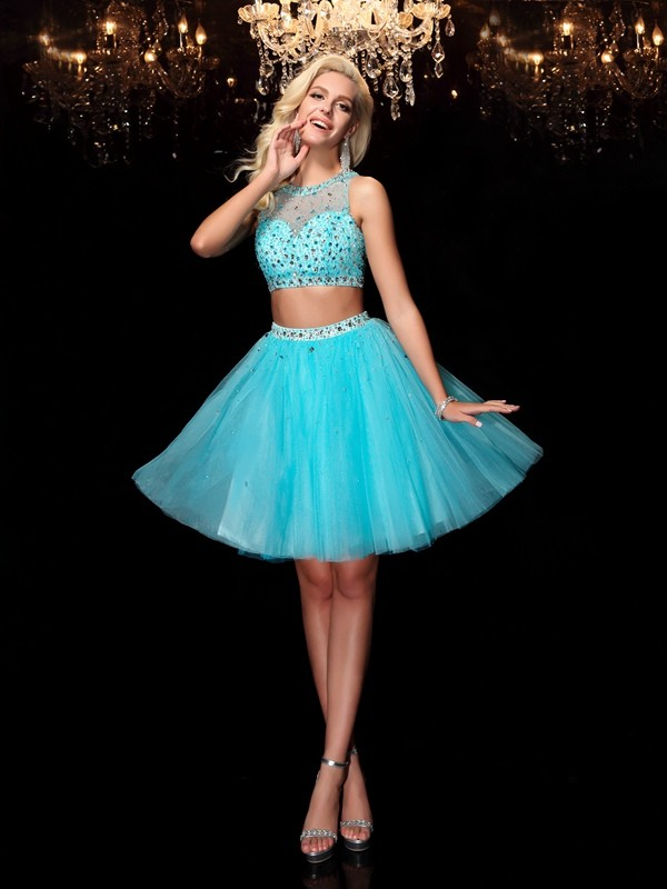 Short/Mini A-Line/Princess Scoop Sleeveless Rhinestone Net Dresses