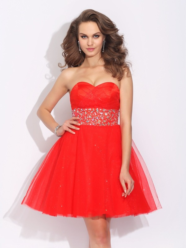 Short/Mini A-Line/Princess Sweetheart Sleeveless Rhinestone Net Dresses