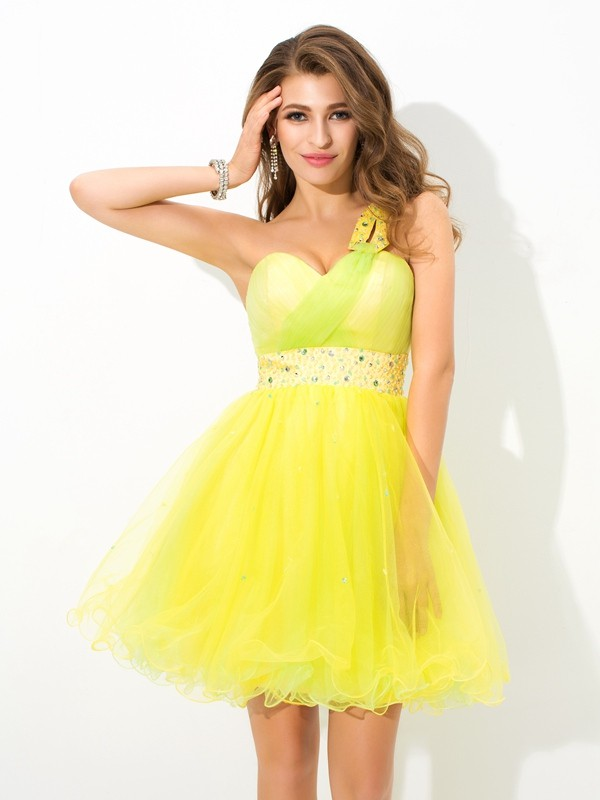 Short/Mini A-Line/Princess One-Shoulder Sleeveless Beading Net Dresses