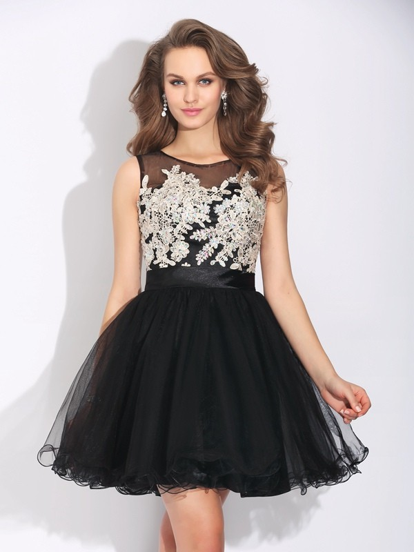 Short/Mini A-Line/Princess Scoop Sleeveless Ruffles Net Dresses