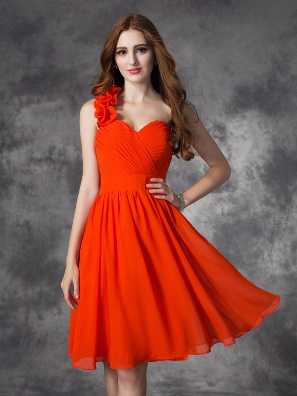Short/Mini A-Line/Princess One-Shoulder Sleeveless Hand-Made Flower Chiffon Dresses