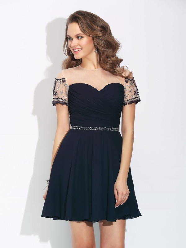 Short/Mini A-Line/Princess Jewel Short Sleeves Beading Chiffon Dresses