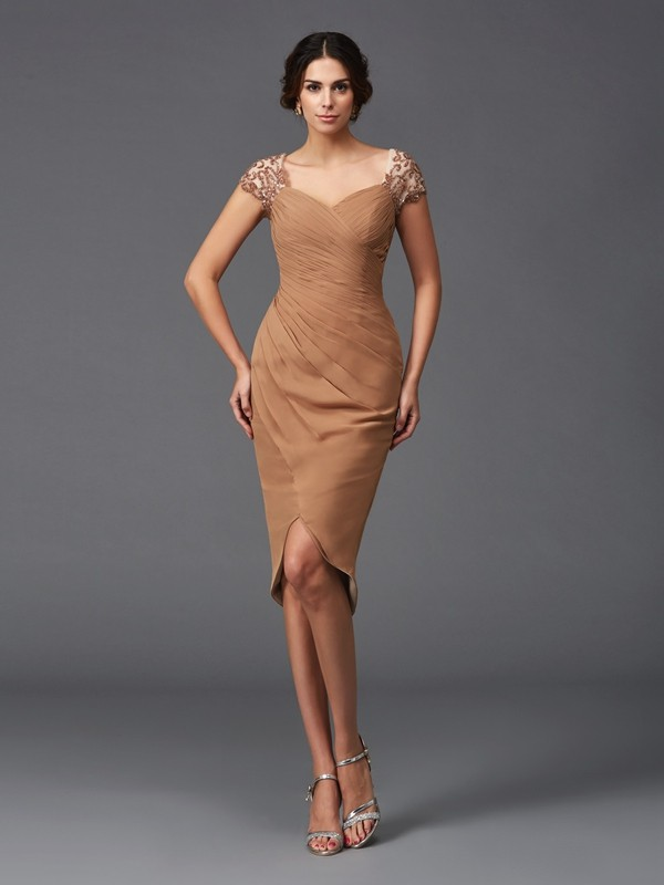 Asymmetrical Sheath/Column Sweetheart Short Sleeves Applique Chiffon Dresses