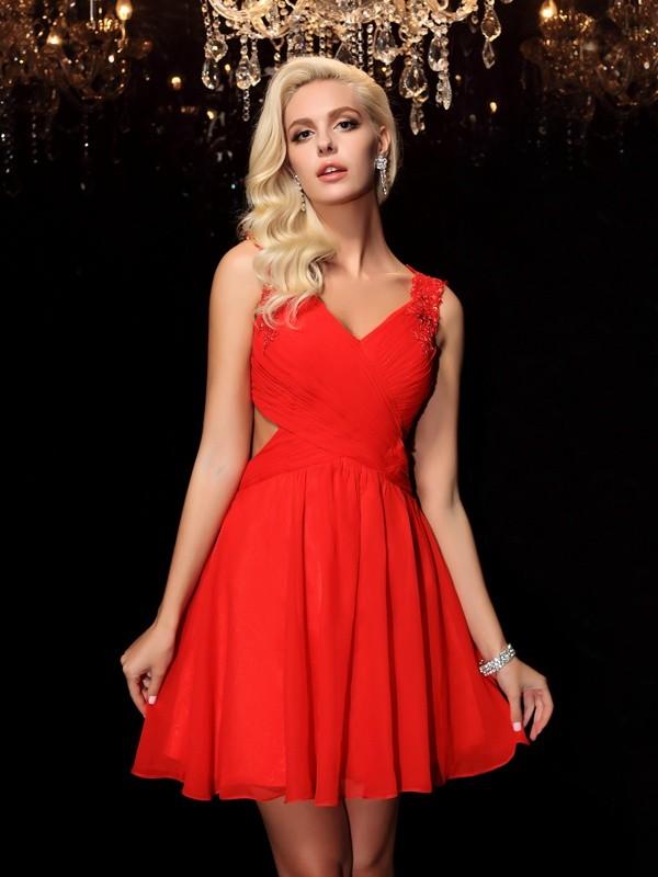 Short/Mini A-Line/Princess Straps Sleeveless Acrylic Jewels Chiffon Dresses