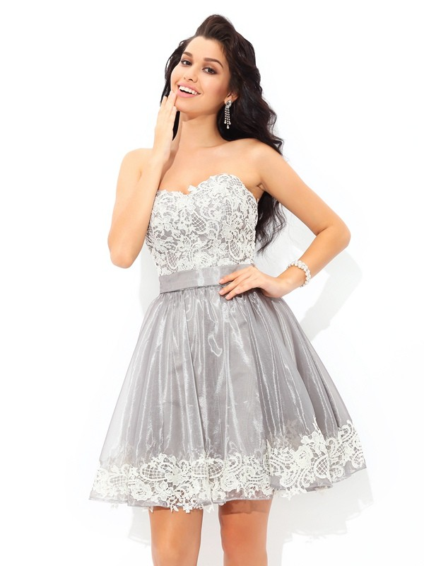 Short/Mini A-Line/Princess Sweetheart Sleeveless Lace Tulle Dresses