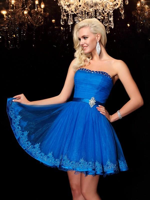 Short/Mini A-Line/Princess Strapless Sleeveless Beading Net Dresses