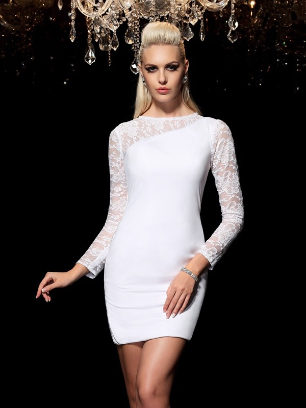 Short/Mini Sheath/Column Scoop Long Sleeves Lace Elastic Woven Satin Dresses