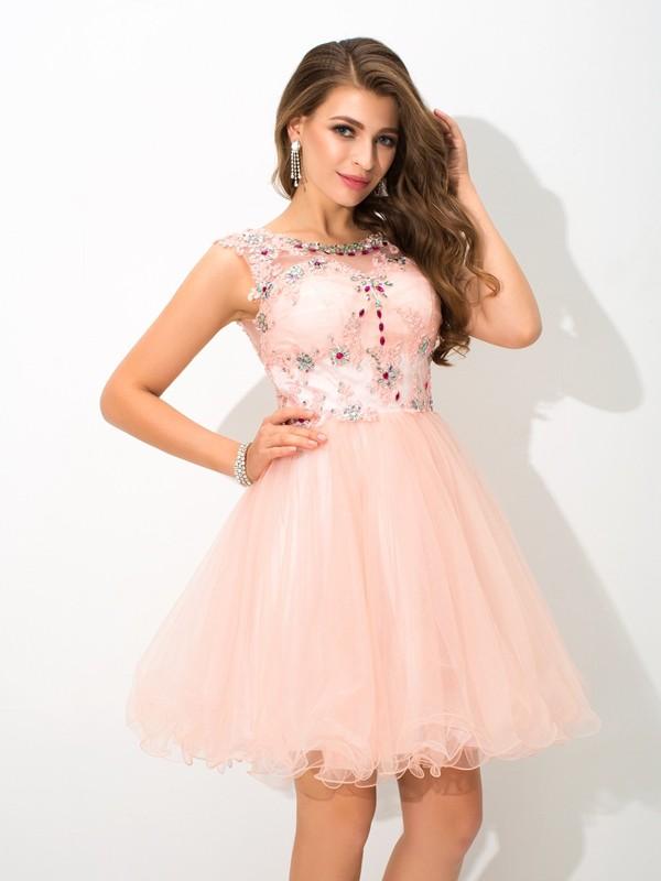 Short/Mini A-Line/Princess Sheer Neck Sleeveless Beading Elastic Woven Satin Dresses