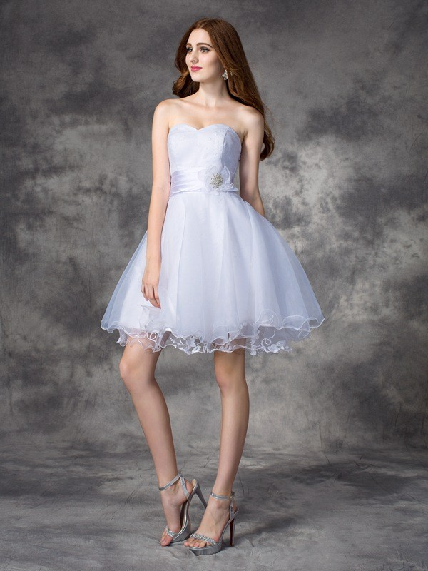 Short/Mini A-Line/Princess Sweetheart Sleeveless Ruffles Organza Dresses