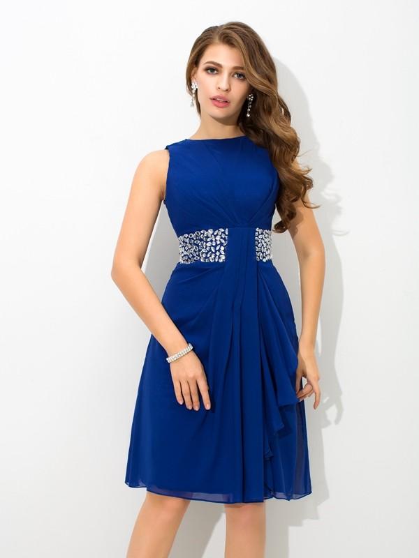 Knee-Length A-Line/Princess High Neck Sleeveless Beading Chiffon Dresses