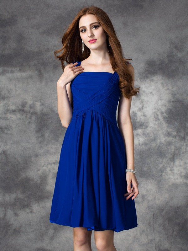 Short/Mini A-Line/Princess Square Sleeveless Ruffles Chiffon Dresses