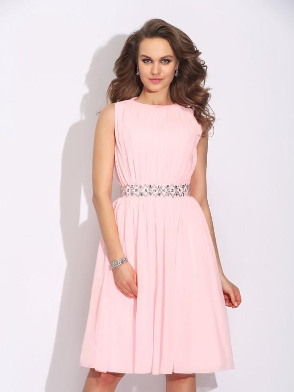 Knee-Length A-Line/Princess Jewel Sleeveless Ruffles Chiffon Dresses