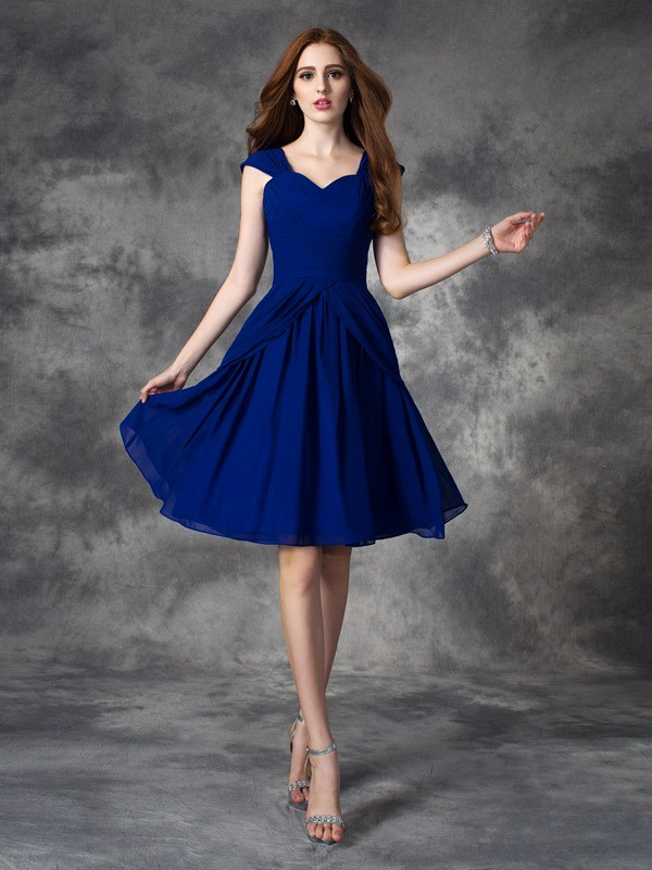Short/Mini A-Line/Princess Straps Sleeveless Ruffles Chiffon Dresses