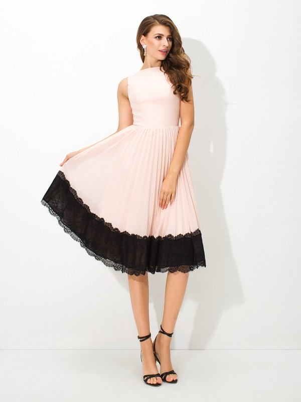 Tea-Length A-Line/Princess High Neck Sleeveless Lace Chiffon Dresses