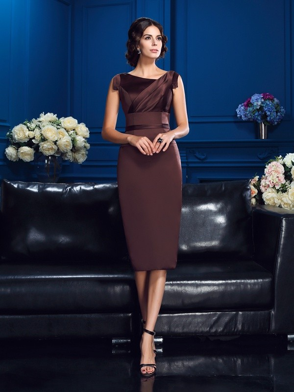 Knee-Length Sheath/Column Other Sleeveless Other Satin Dresses