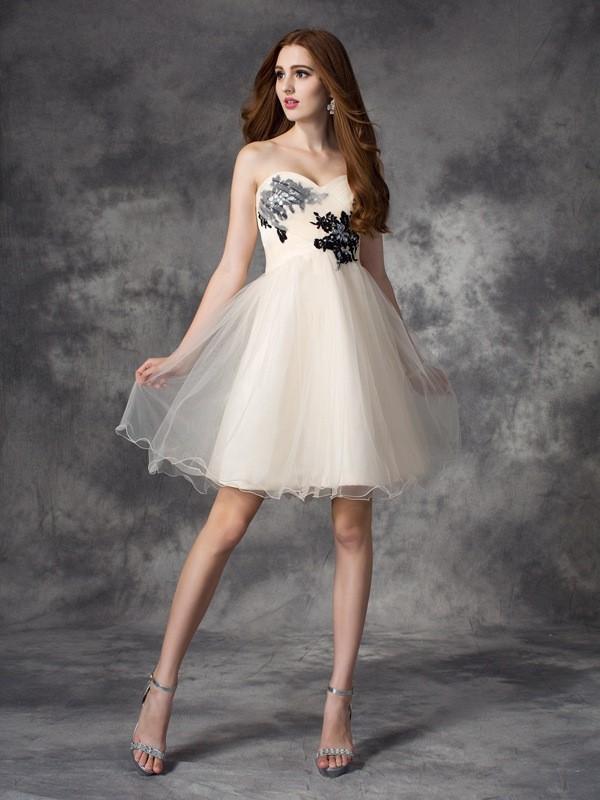 Short/Mini A-Line/Princess Sweetheart Sleeveless Applique Net Dresses