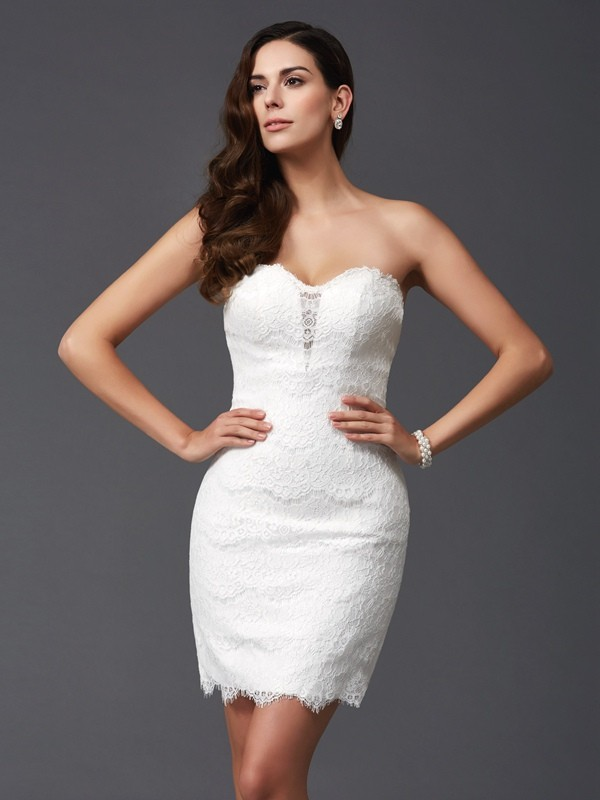 Short/Mini Sheath/Column Sweetheart Sleeveless Lace Lace Dresses