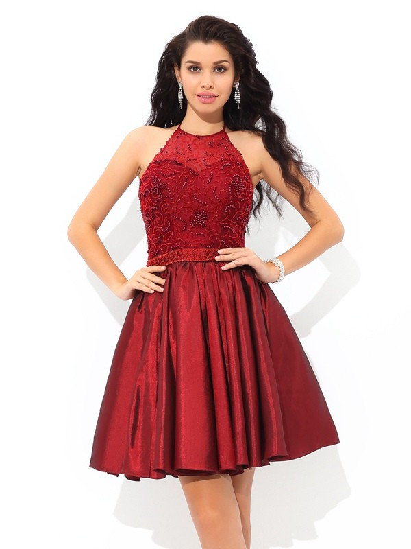 Short/Mini A-Line/Princess Halter Sleeveless Beading Taffeta Dresses