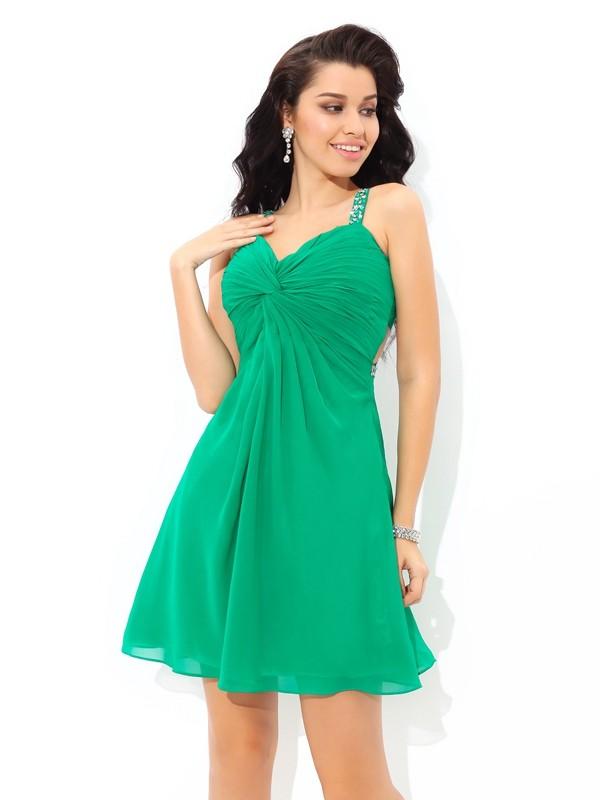 Short/Mini A-Line/Princess Straps Sleeveless Pleats Chiffon Dresses