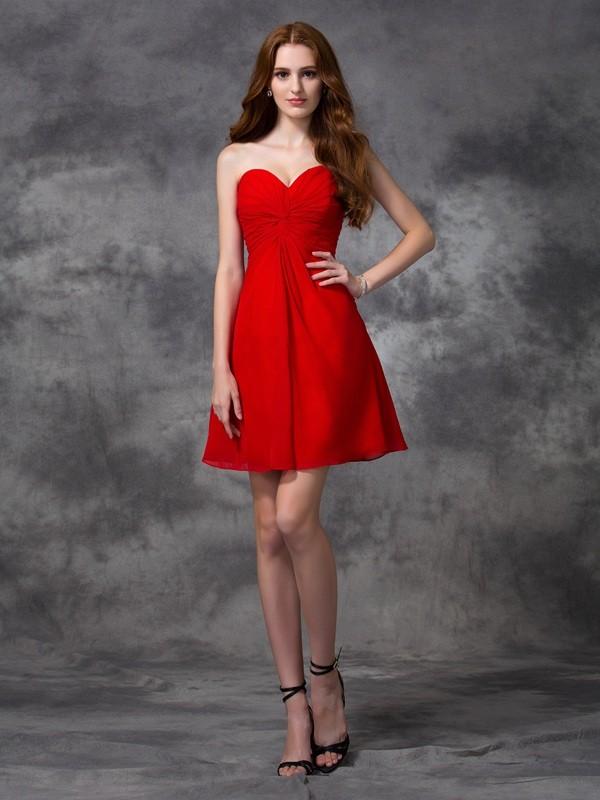 Short/Mini A-Line/Princess Sweetheart Sleeveless Ruched Chiffon Dresses