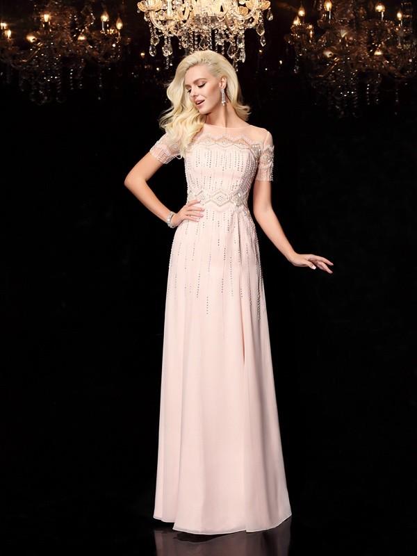 Floor-Length A-Line/Princess Bateau Short Sleeves Beading Chiffon Dresses