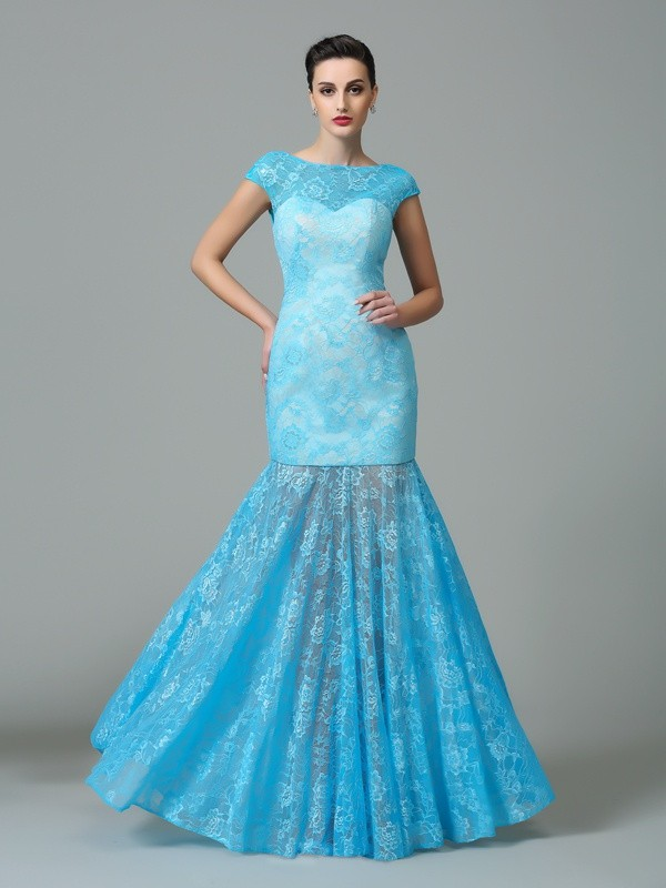 Floor-Length Sheath/Column Scoop Short Sleeves Other Lace Dresses