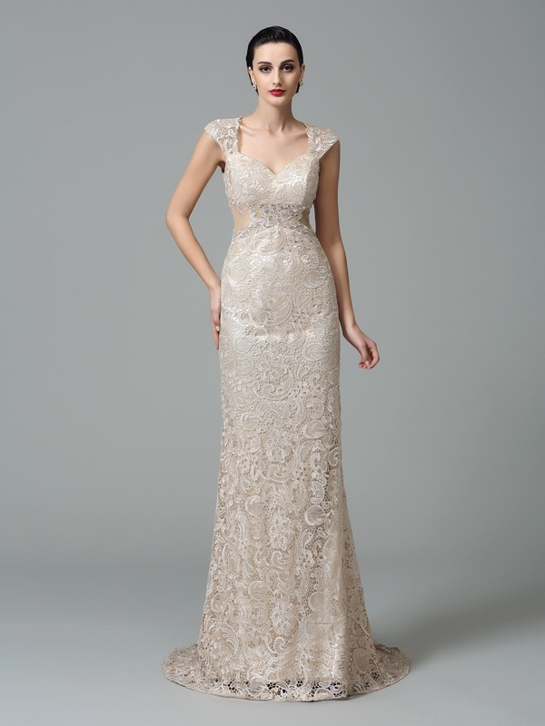 Sweep/Brush Train Sheath/Column Straps Sleeveless Other Lace Dresses