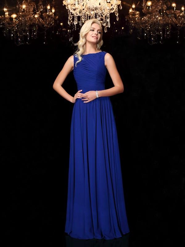 Floor-Length A-Line/Princess Bateau Sleeveless Rhinestone Chiffon Dresses