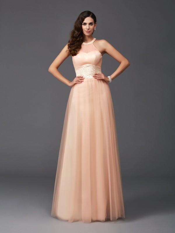 Floor-Length A-Line/Princess Halter Sleeveless Beading Net Dresses